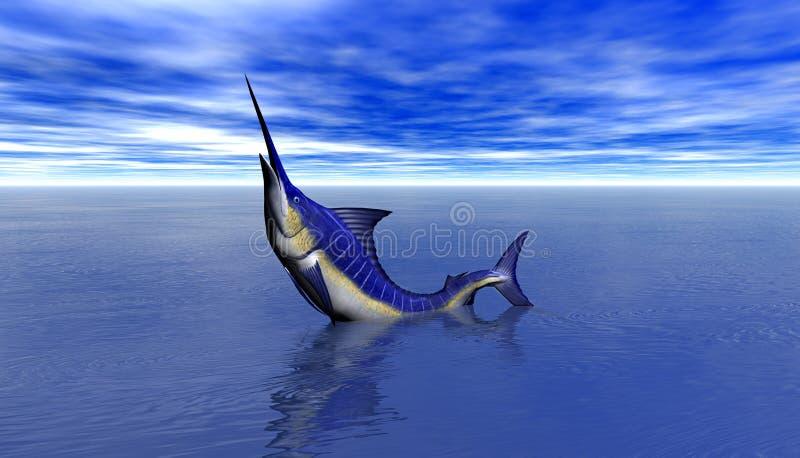 3D rendem de um ataque do tubarão ilustração do vetor
