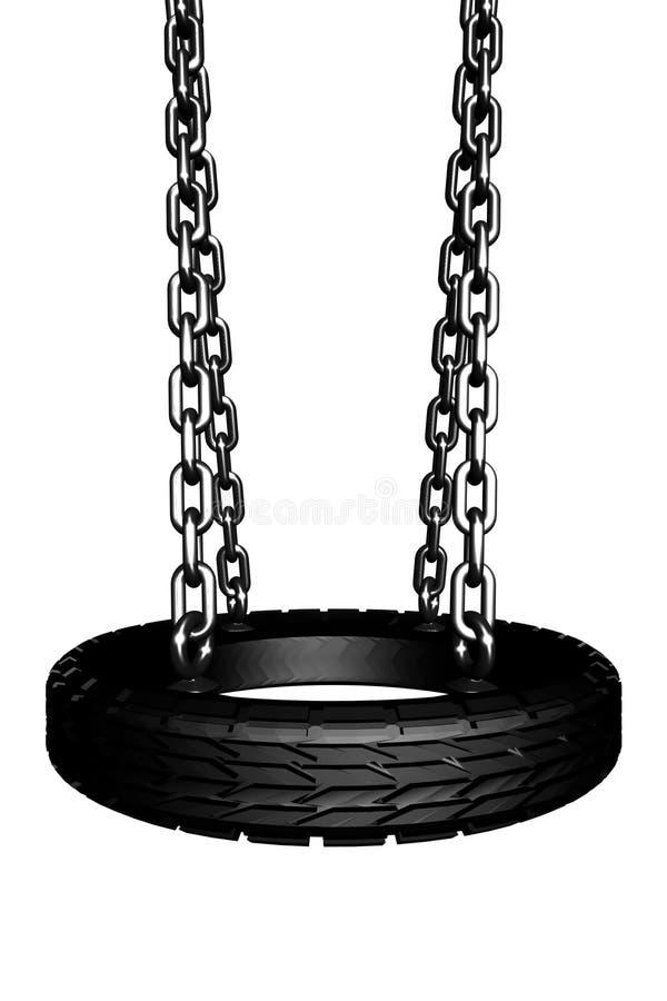 3D rendem de um balanço com um pneu para um assento fotografia de stock