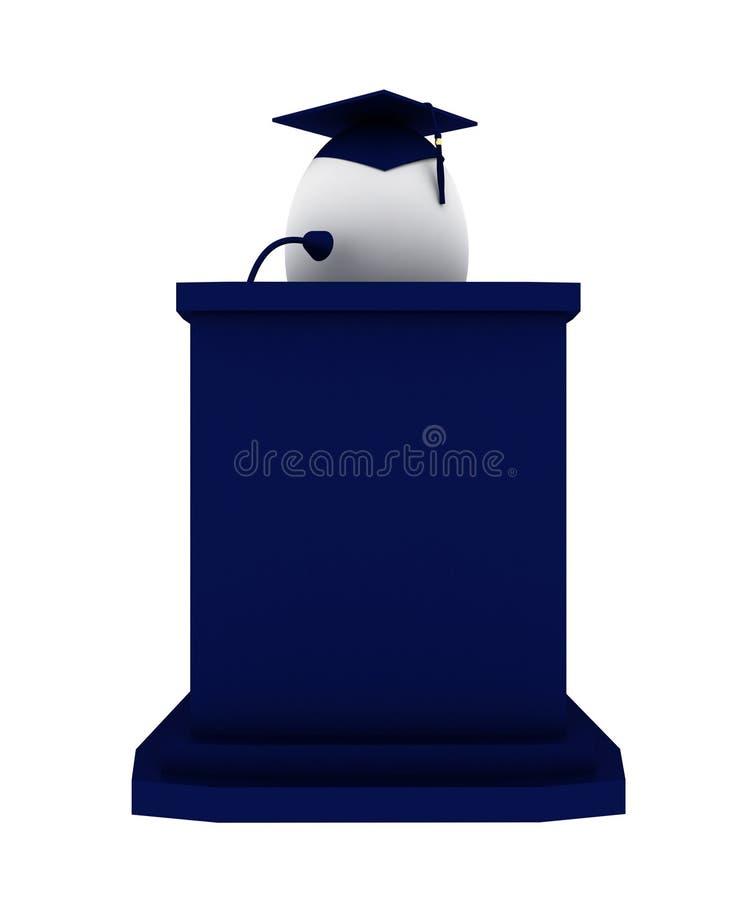 3d rendem de um graduado do ovo que faz um discurso imagens de stock