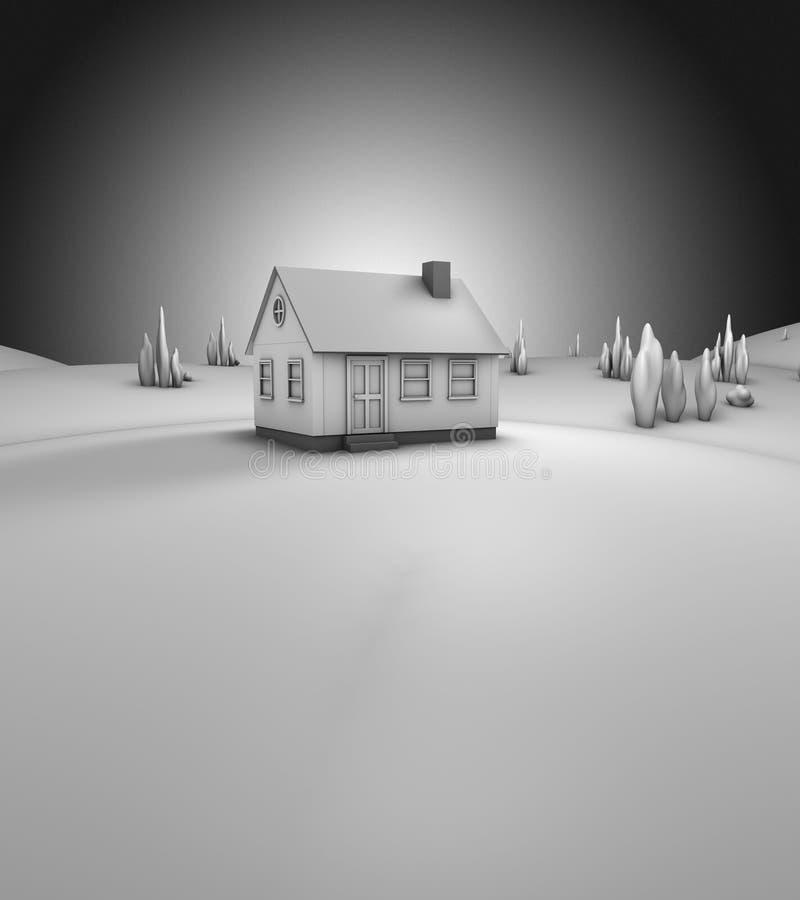 3D rendem de uma casa (cinzenta) ilustração do vetor