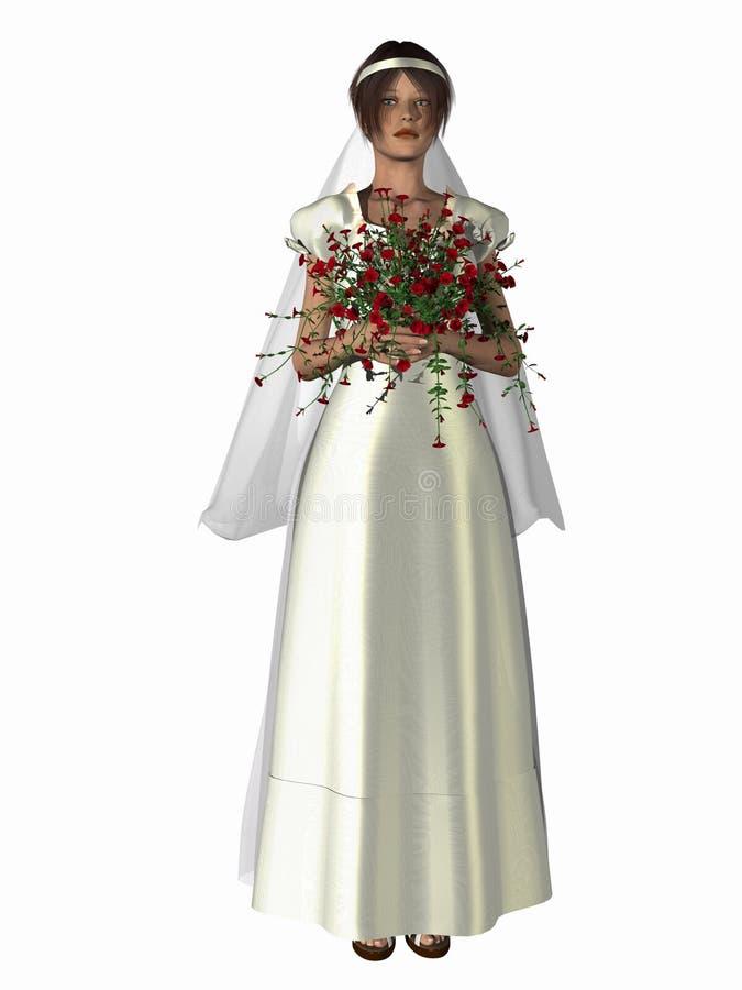 3D rendem a forma nupcial da noiva ilustração royalty free