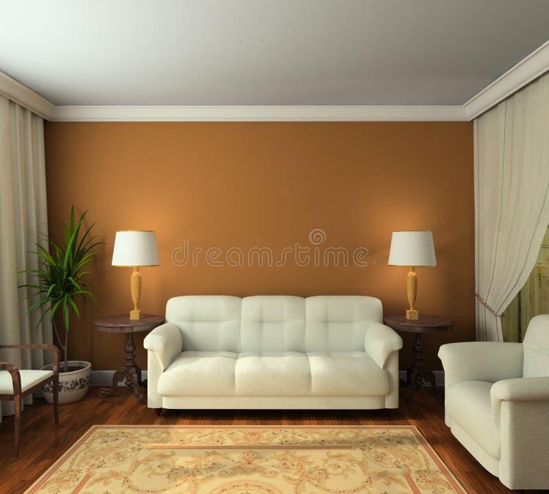 3D rendem o interior clássico da sala de visitas