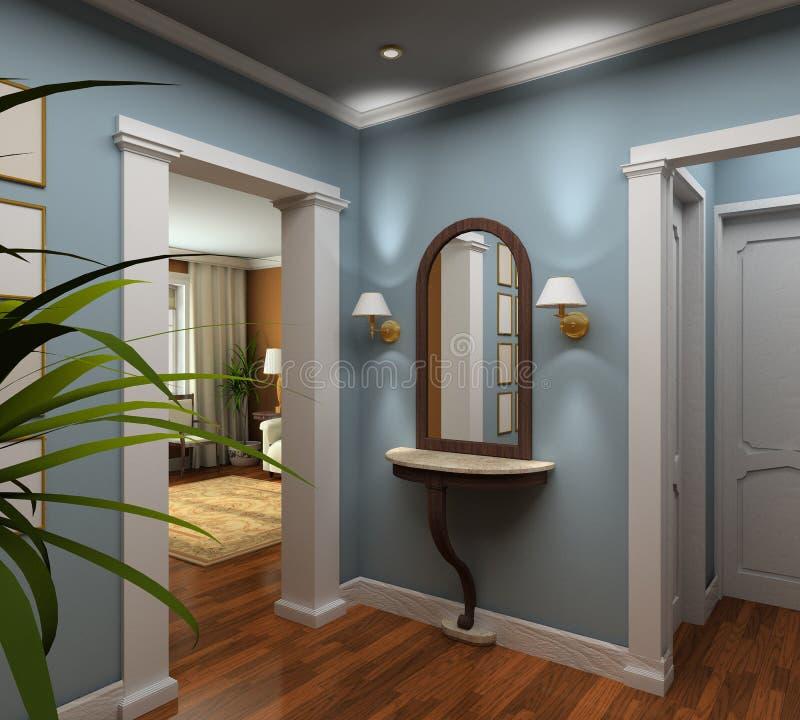 3D rendem o interior do vestibule ilustração stock