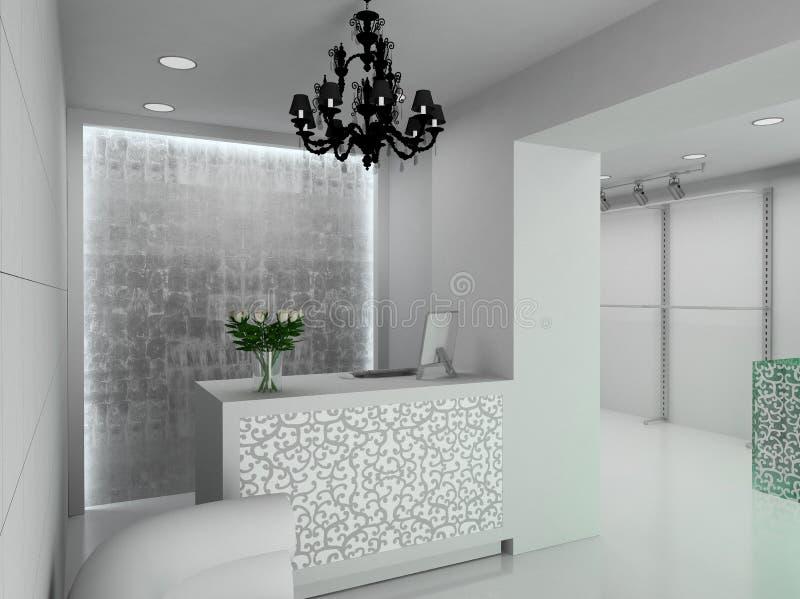 3D rendem o interior moderno da loja ilustração stock