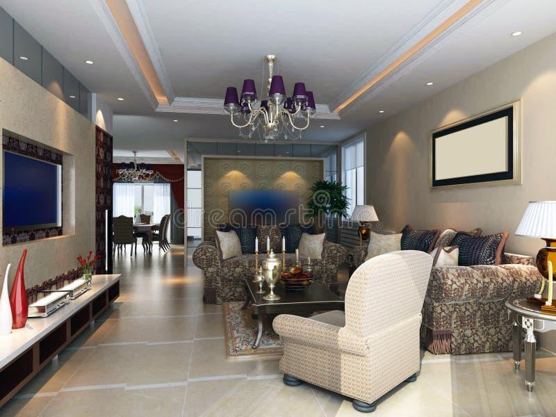 3d rendem o interior moderno da sala de visitas 1 ilustração do vetor