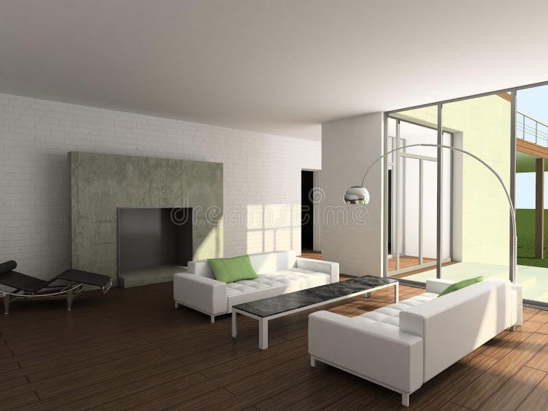 3D rendem o interior moderno da sala de visitas ilustração do vetor