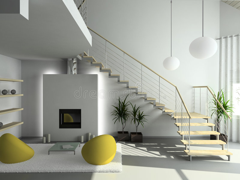 3D rendem o interior moderno da sala de visitas ilustração royalty free