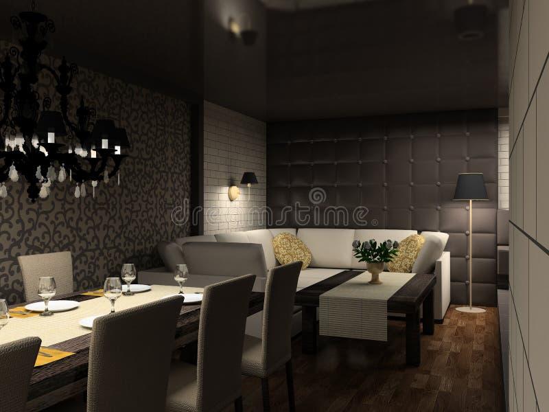 3D rendem o interior moderno do café; ilustração do vetor