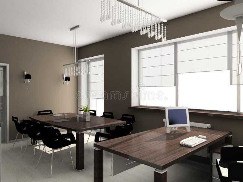 3D rendem o interior moderno do escritório ilustração royalty free