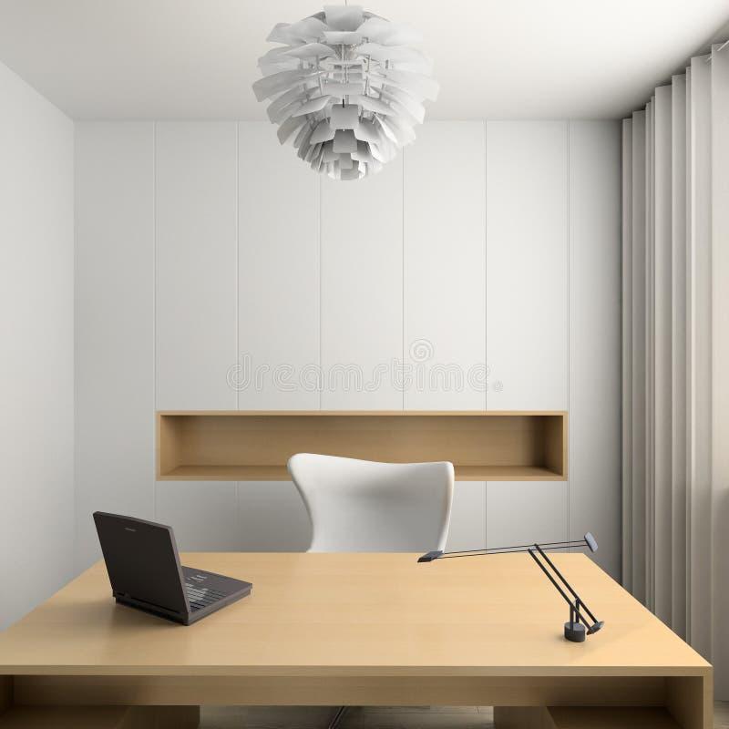 3D rendem o interior moderno do gabinete ilustração stock