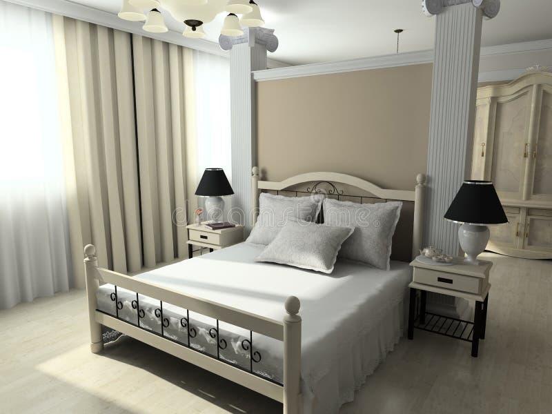 3D rendem o interior moderno do quarto ilustração royalty free