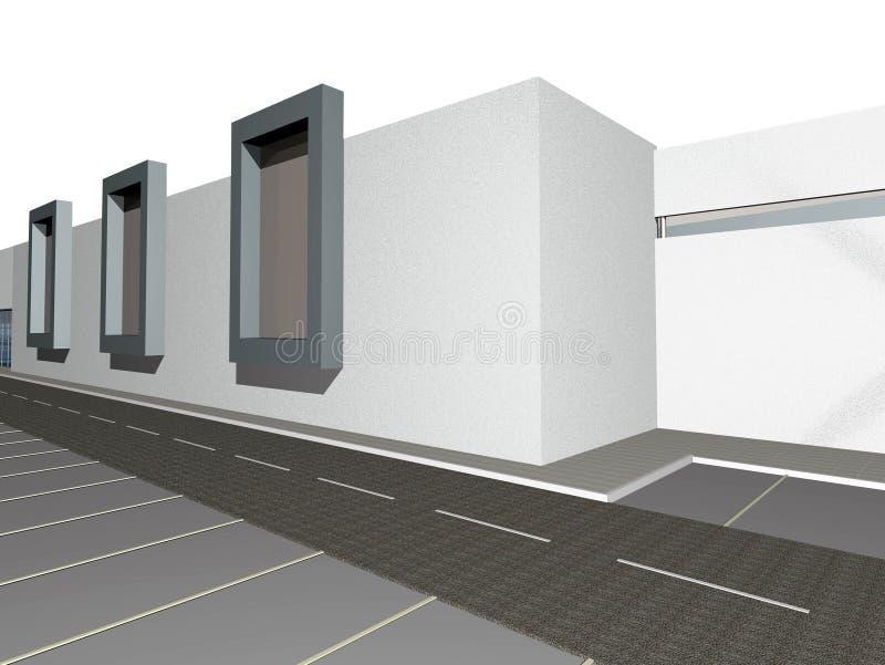 3D rendent de l'extérieur moderne de construction illustration stock
