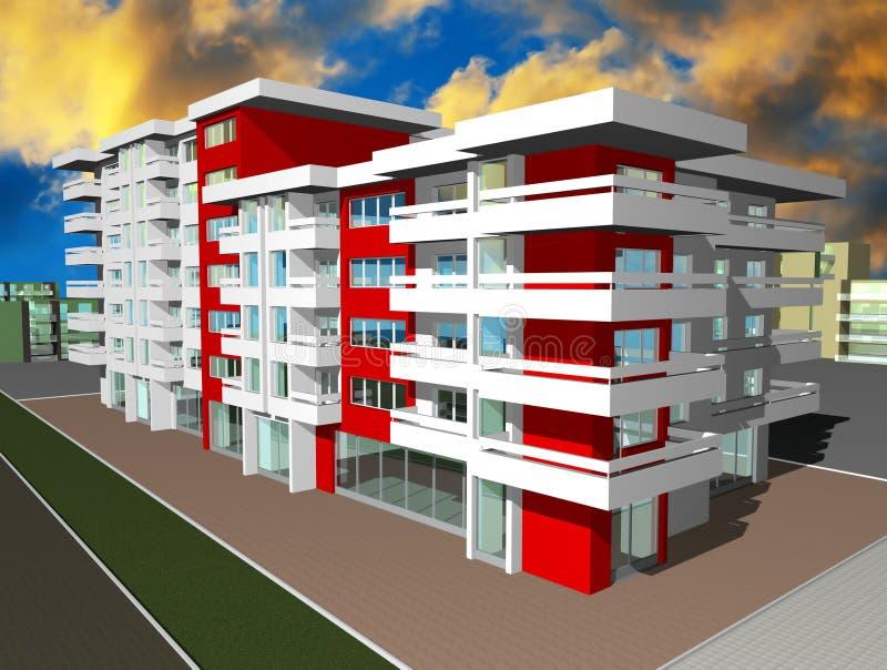 3d rendent de la construction moderne illustration stock