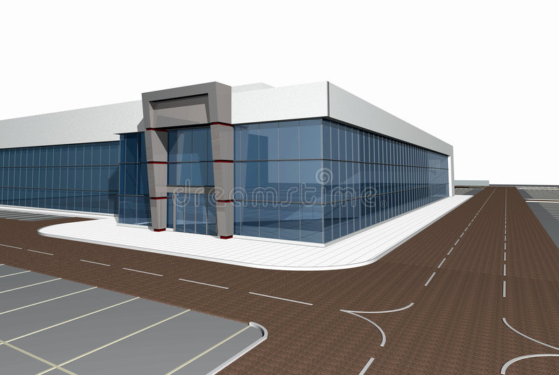 3D rendent de la construction moderne illustration de vecteur