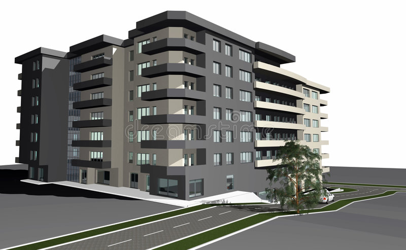 3D rendent de la construction résidentielle moderne illustration libre de droits