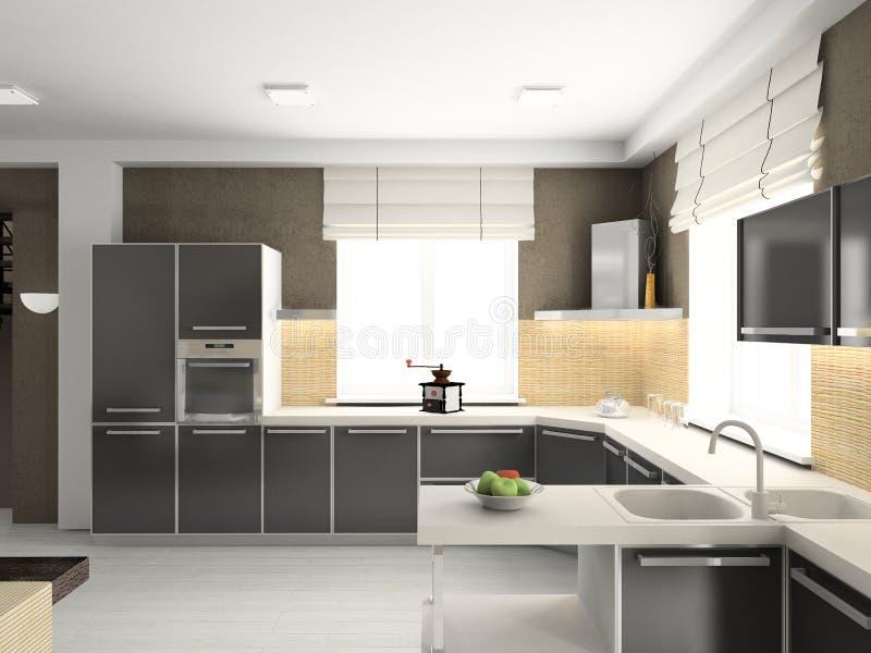 3D rendent l'intérieur moderne de la cuisine photos libres de droits