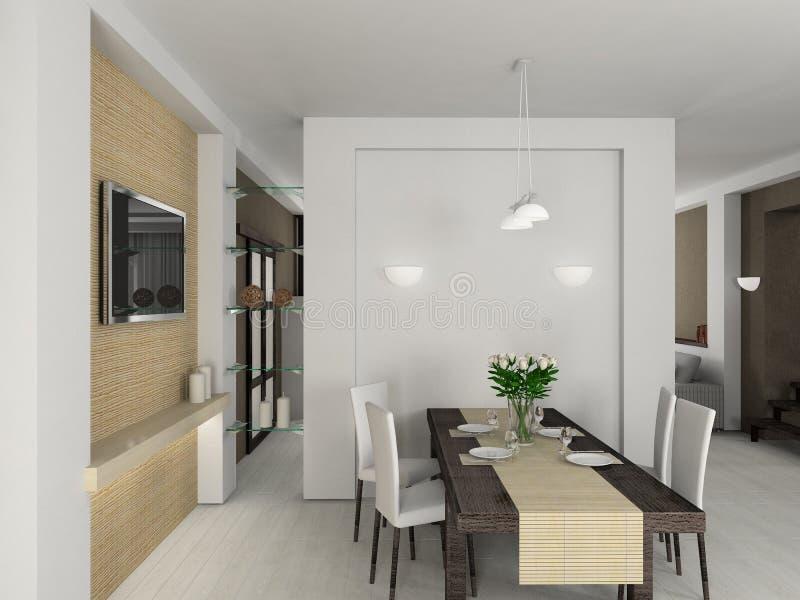 3D rendent l'intérieur moderne de la salle à manger image stock