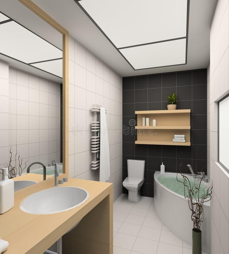 3D rendent l'intérieur moderne de la salle de bains photographie stock