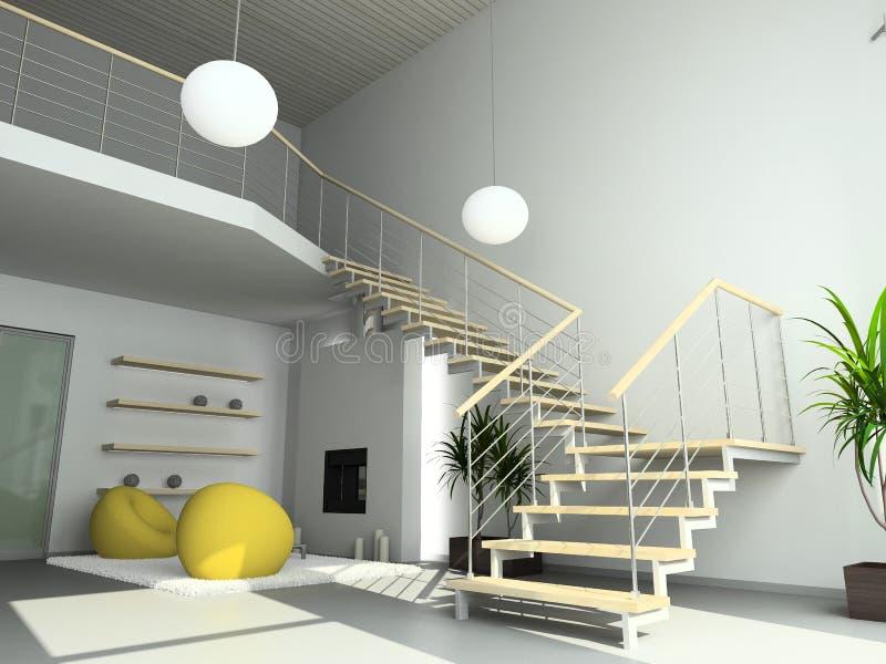 3D rendent l'intérieur moderne de la salle de séjour illustration stock