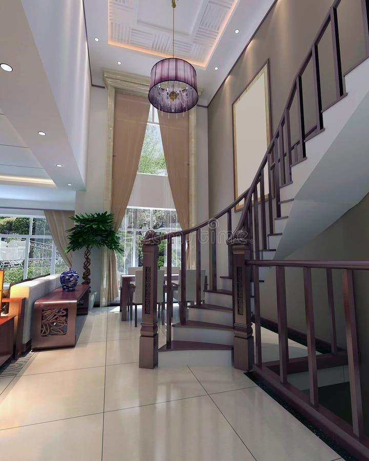 3d rendent l'intérieur moderne de la salle de séjour illustration de vecteur