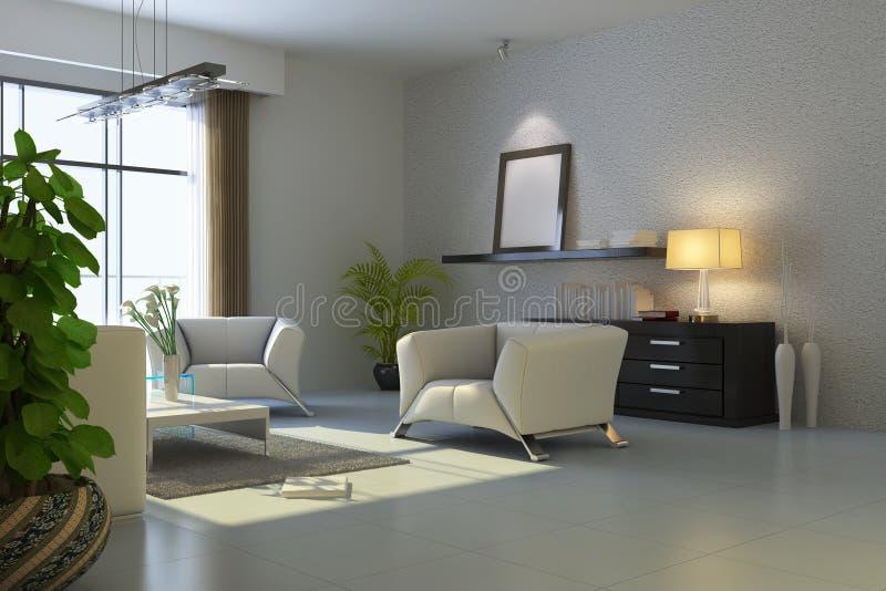 3d rendent la salle de séjour moderne illustration libre de droits