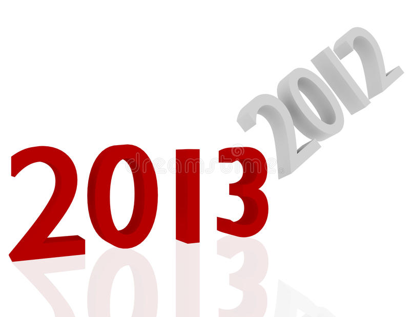3d Render of 2013 Getting Rid of 2012 royalty free illustration