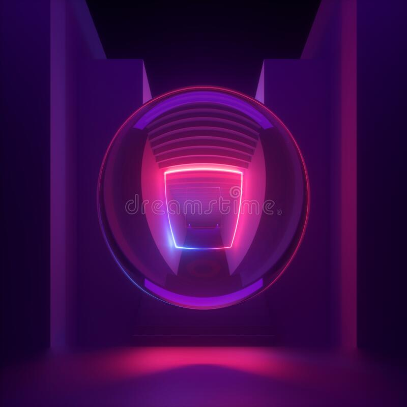 Free 3d Render, Abstract Modern Minimal Background, Purple Pink Neon Light, Reflection Inside Glass Ball. Empty Staircase Perspective. Royalty Free Stock Photos - 206924118