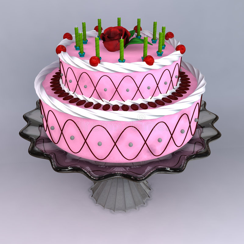 A 3D render of birthday and wedding cake stock illustration