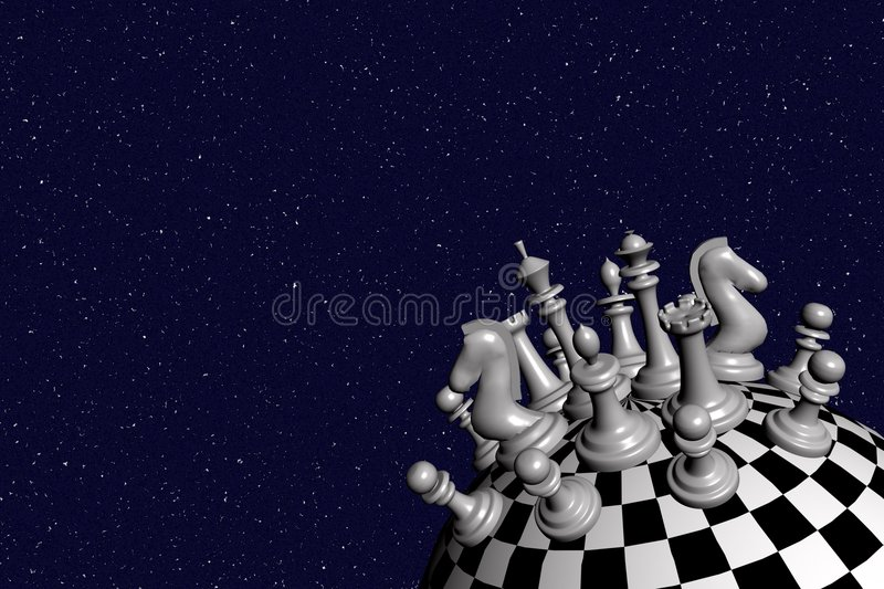"""3D render of the chess world. (white) – inspired by """"Little Prince"""" by Antoine De Saint-Exupery royalty free stock image"""