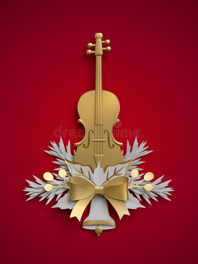 Free 3d Render, Christmas Floral Decoration, Viola, Violin Musical In Stock Photography - 105049992