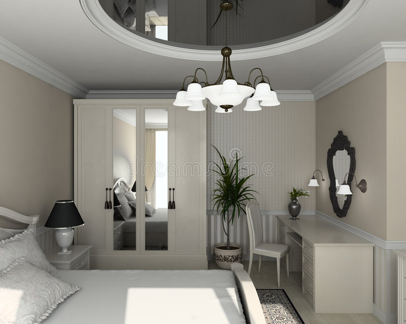 3D Render Classic Interior Of Bedroom Royalty Free Stock Image