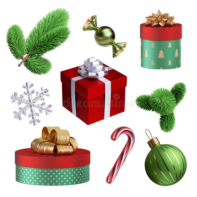 Free 3d Render, Collection Of Christmas Decor Elements: Glass Ball, Gift Box, Candy Cane, Caramel Sweet, Evergreen Spruce Twig, Crystal Stock Photo - 197510960