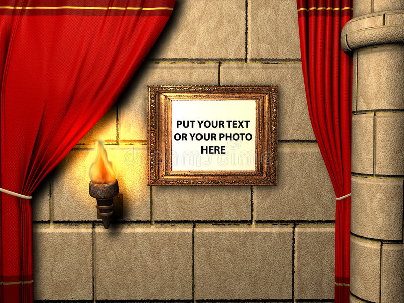 3D render of Copper antique painting frame isolated on a castle royalty free illustration