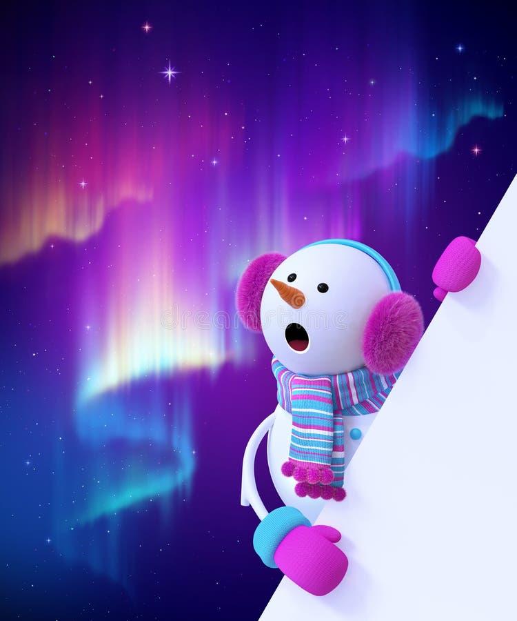 Free 3d Render, Cute Snowman Wondering, Christmas Character, Miracle, Aurora Borealis Natural Phenomenon, Night Polar Sky, Neon Lights Royalty Free Stock Photography - 164846687