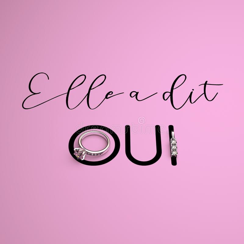 Free 3D Render Elegant Wedding Design Concept With Calligraphy. Phrase `ELLE A DIT OUI` `SHE SAID YES` In French, An Engagement Ring Royalty Free Stock Image - 182720806