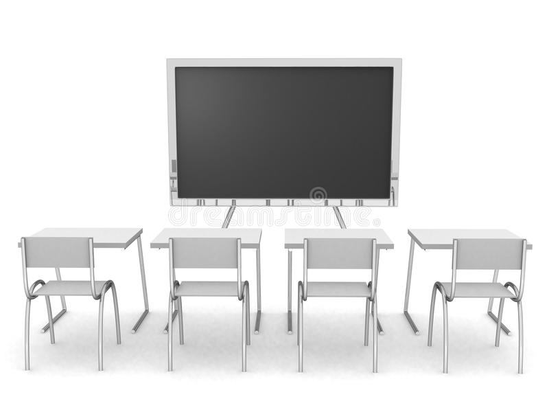 3D render of an empty classroom royalty free illustration