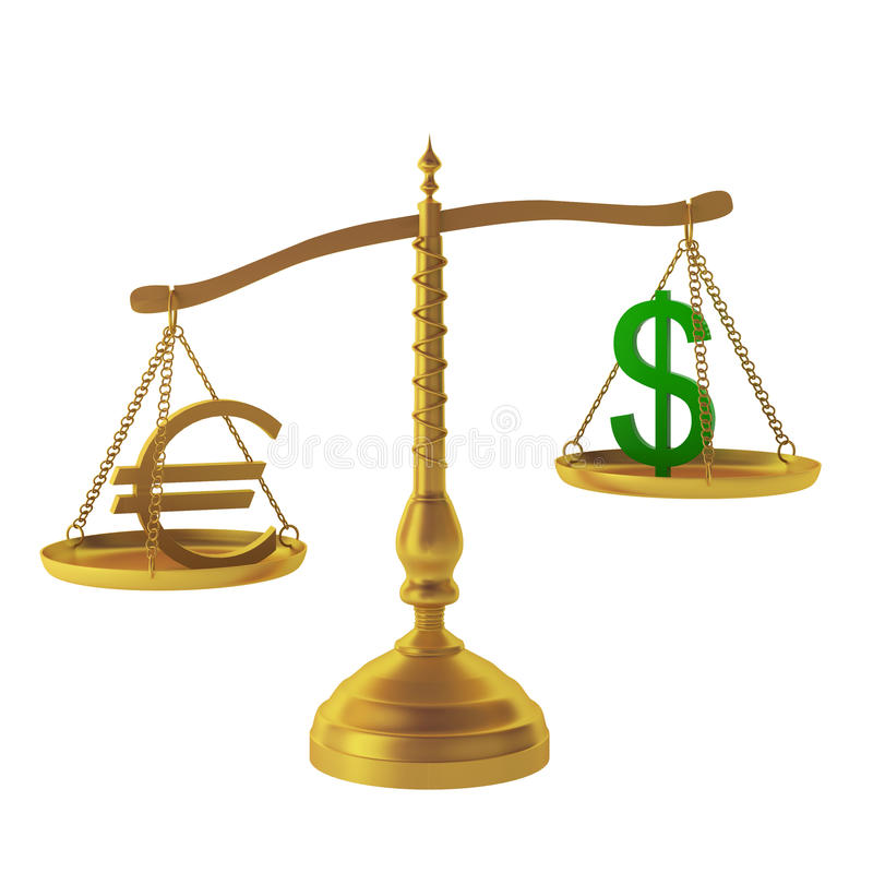 3d render of euro and dollar on scales royalty free illustration