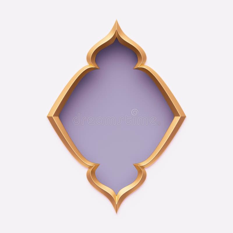 Free 3d Render, Gold Arabic Frame, Ornate Shape, Light Violet, Lilac, Arabesque Design, Empty Banner, Festive Greeting Card Template Royalty Free Stock Photos - 141560288