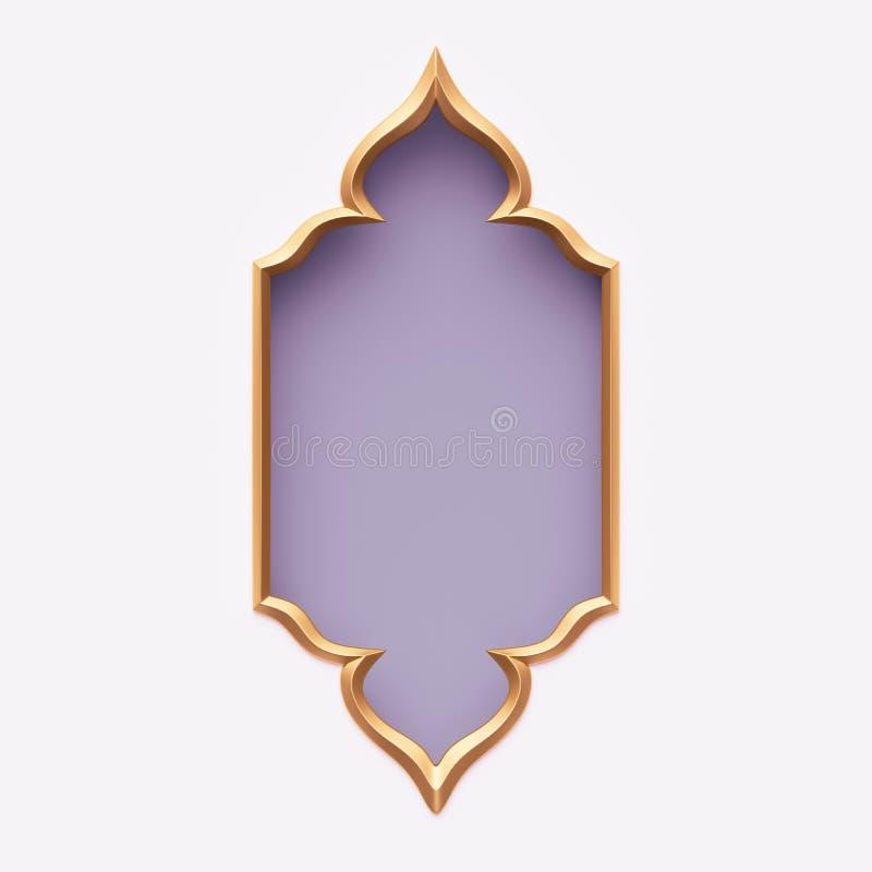 Free 3d Render, Gold Arabic Frame, Ornate Shape, Light Violet Lilac, Tribal Arabesque Design, Banner, Festive Greeting Card Template Royalty Free Stock Images - 141560309