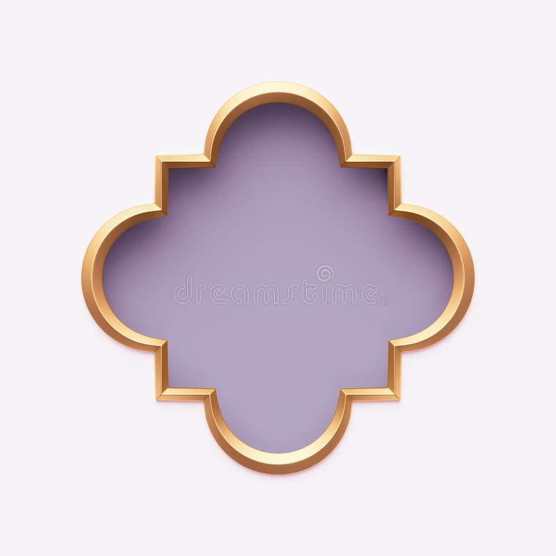 Free 3d Render, Gold Arabic Frame, Ornate Shape, Light Violet, Lilac, Tribal Arabesque Design, Empty Ban Festive Greeting Card Template Royalty Free Stock Image - 141560296