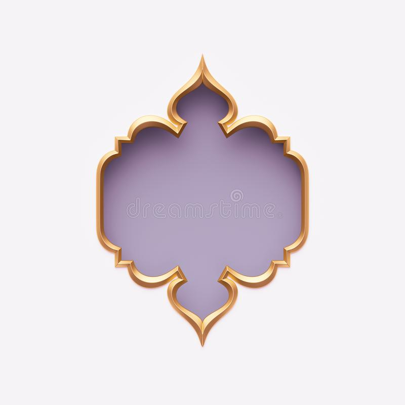 Free 3d Render, Gold Arabic Frame, Ornate Shape, Light Violet, Lilac, Tribal Arabesque Design, Empty Banner, Greeting Card Template Stock Photo - 141560330