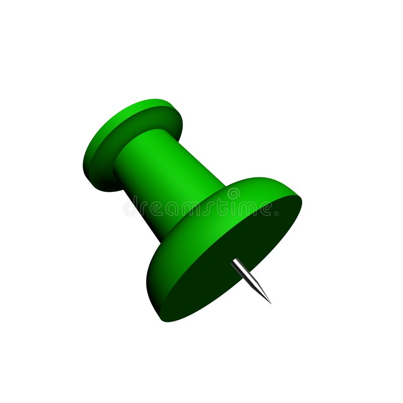 3D Render Of A Green Push-pin Stock Images