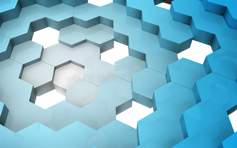 3D render of hexagon structure royalty free stock images