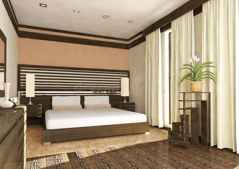 3d render interior. Modern design interior of bedroom. 3D render royalty free stock image