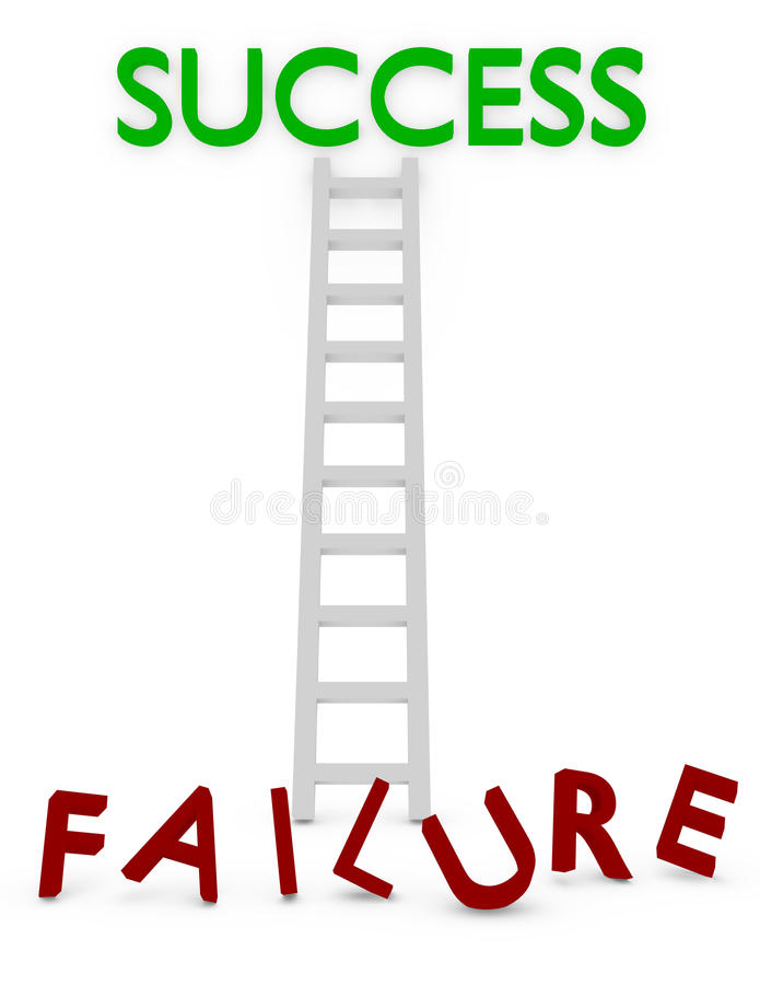 3d Render of a Ladder to Success or Failure. On white stock illustration