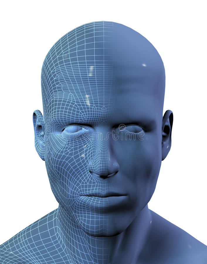 3D render of males head with wireframe on half royalty free illustration