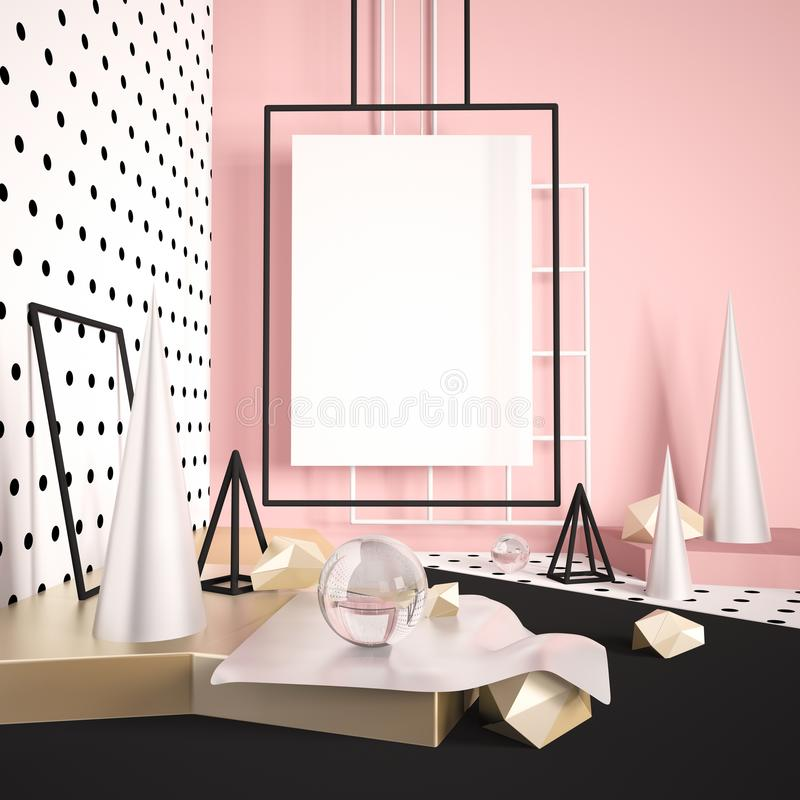 Free 3d Render Mock Up Scene With Poster Or Banner Empty Space. Modern Minimalistic Digital Illustration With Silver And Gold Different Stock Images - 110686524