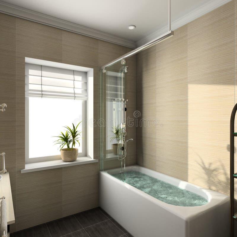 3D render modern interior of bathroom royalty free stock photos