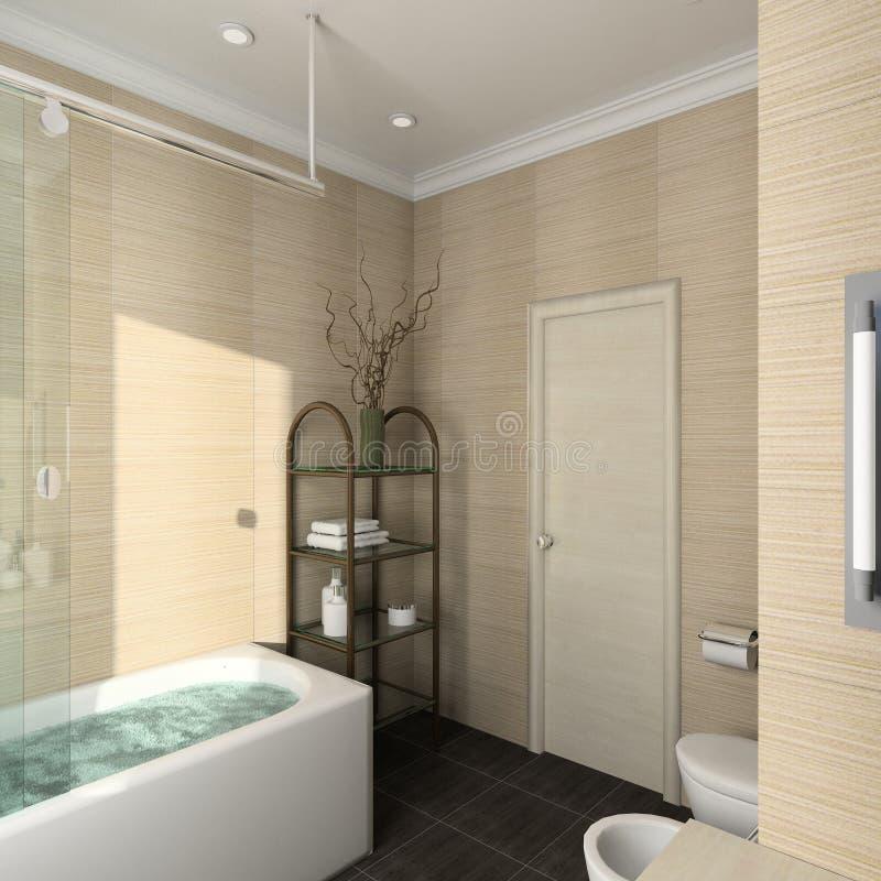 3D render modern interior of bathroom stock photography