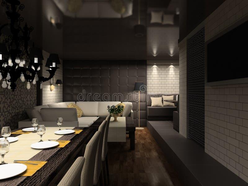 3D render modern interior of cafe stock illustration